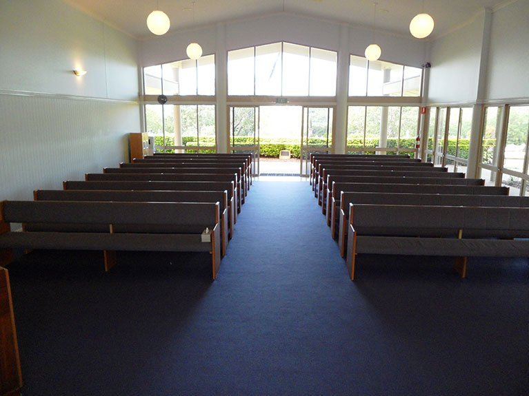 This is an image of the Mt Gravatt Crematorium Chapel from the front