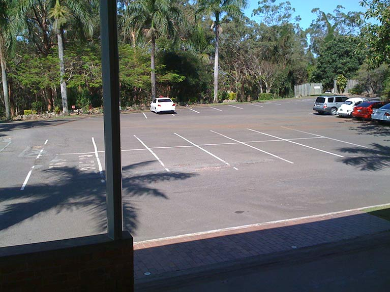 This is a view of the car park outside East Chapel at Mt Thompson Memorial Park