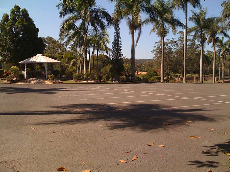 This is a view of the car park and Rotunda outside the East Chapel at Mt Thompson Memorial Park