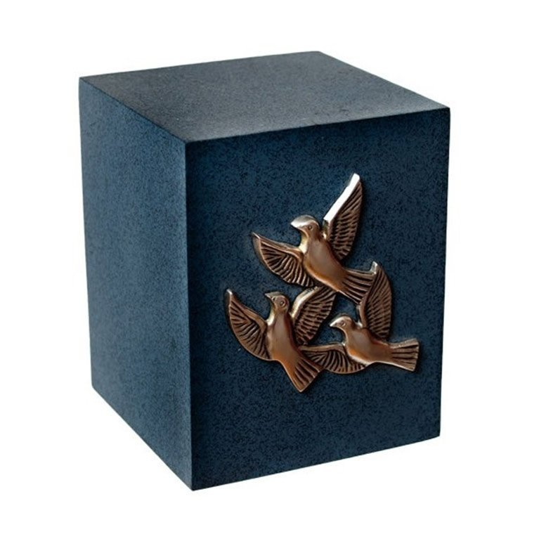 Blue Flying Doves Square Urn 30355