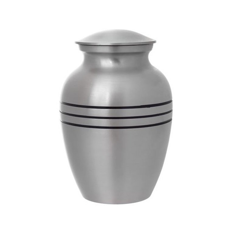 Brushed Silver Brass Urn 16336