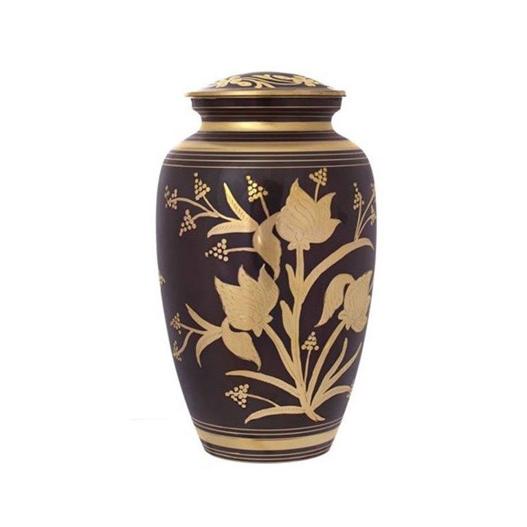 Floral Brass Urn 16357