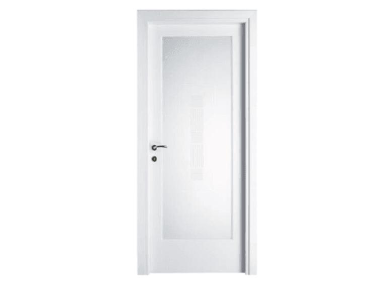 porta laccata  bianco e vetro