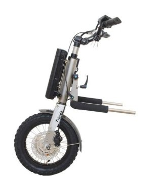 Particolare di scooter elettrico per carrozzina disabili