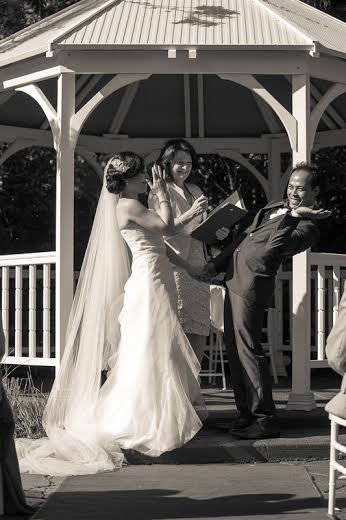 a bee interrupts wedding proceedings