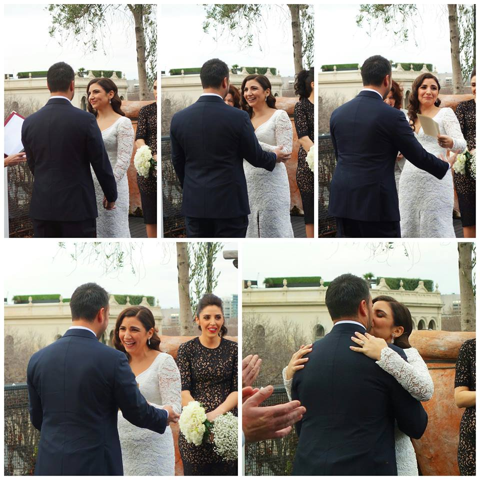 collage of winter wedding bride and groom