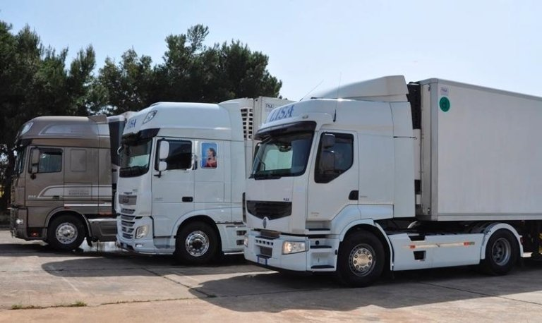 Tre camion in prospettiva, una cabina marrone e due bianche