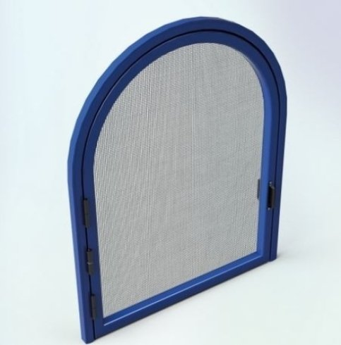 una finestra blu a forma di arco con akl centro una zanzariera