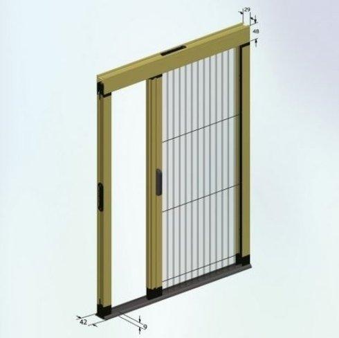 disegno del progetto di una finestra scorrevole con rifiniture in oro