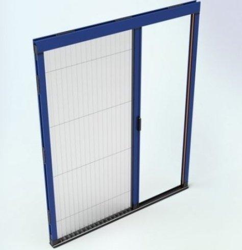 disegno di una finestra blu e bianca con un anta scorrevole