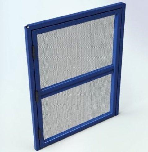 disegno di una finestra con rifiniture blu e una zanzariera bianca