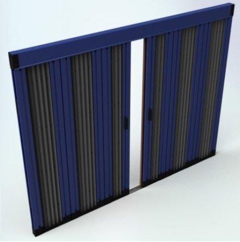 disegno di una finestra a due ante scorrevoli di color nero e blu