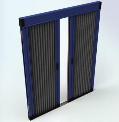 disegno di una finestra a due ante con rifiniture blu e nere