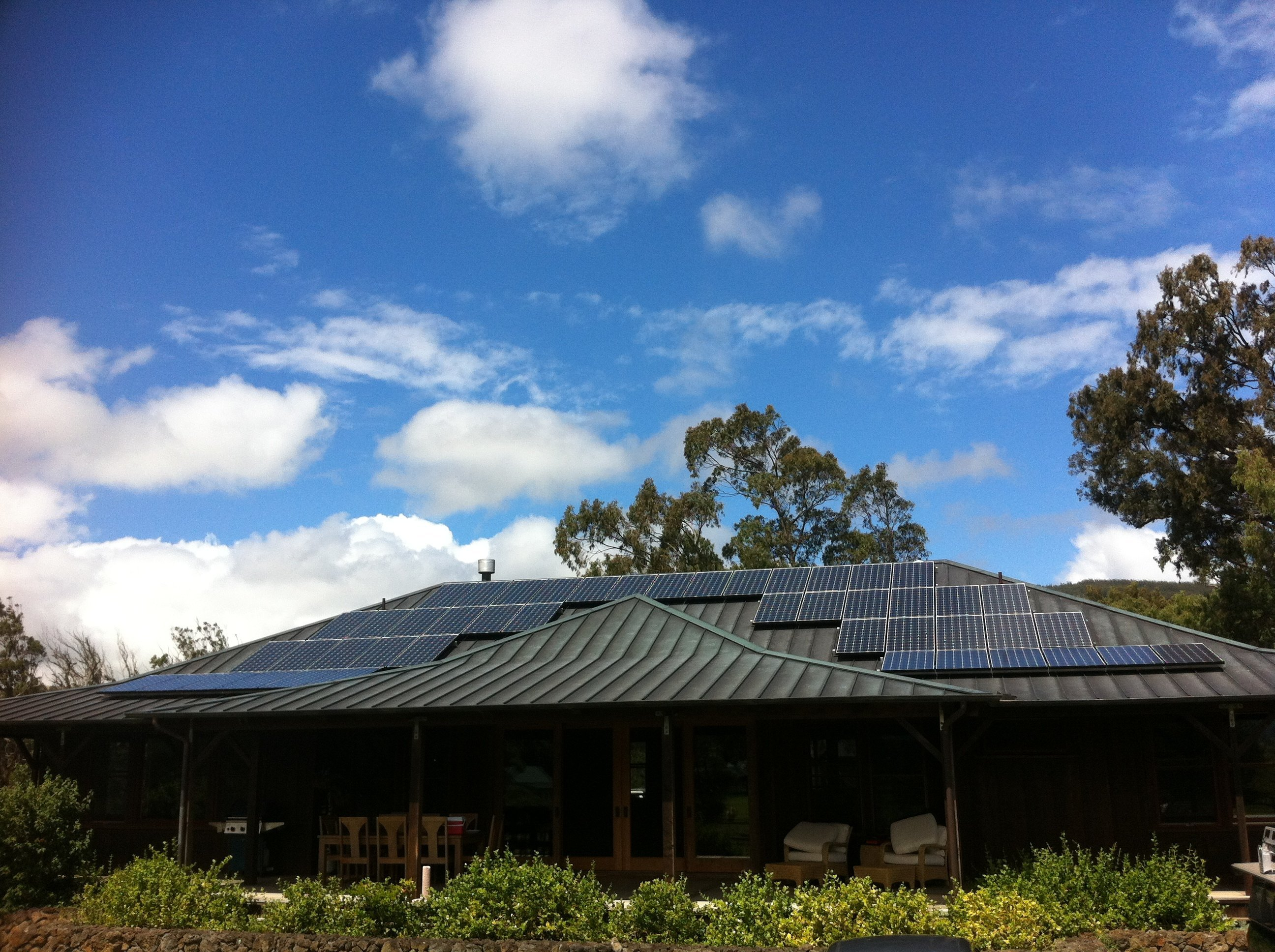 Solar panel installed on roof top in Honokaa, HI