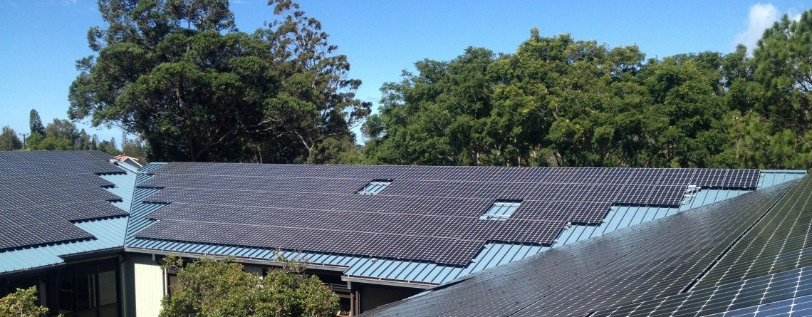 Solar panel installed on roof top in Honokaa, HI
