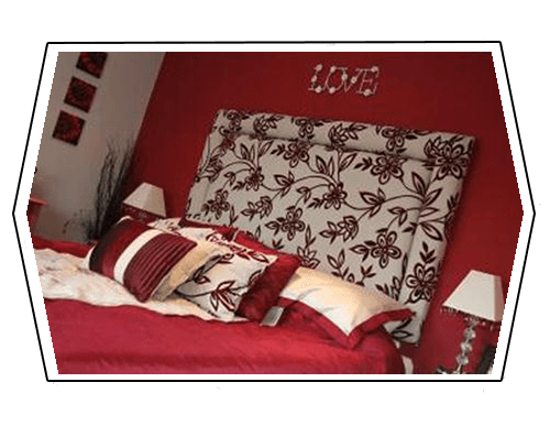 red coloured bedspread