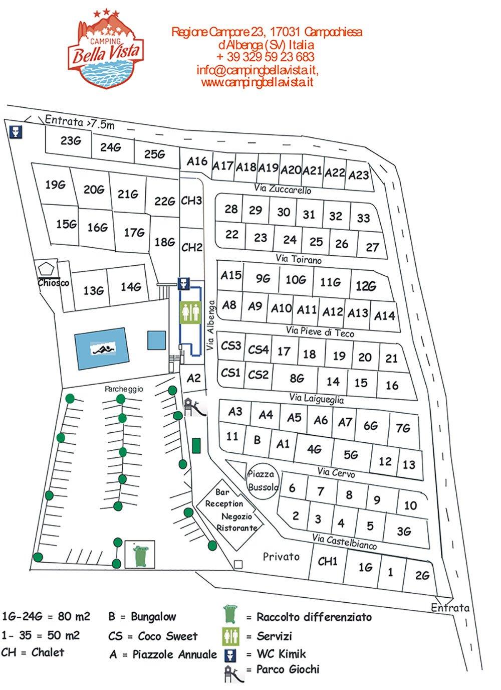 vista della mappa del campeggio