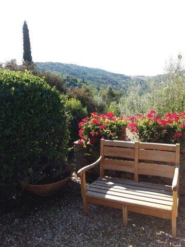panchina in giardino fiorito