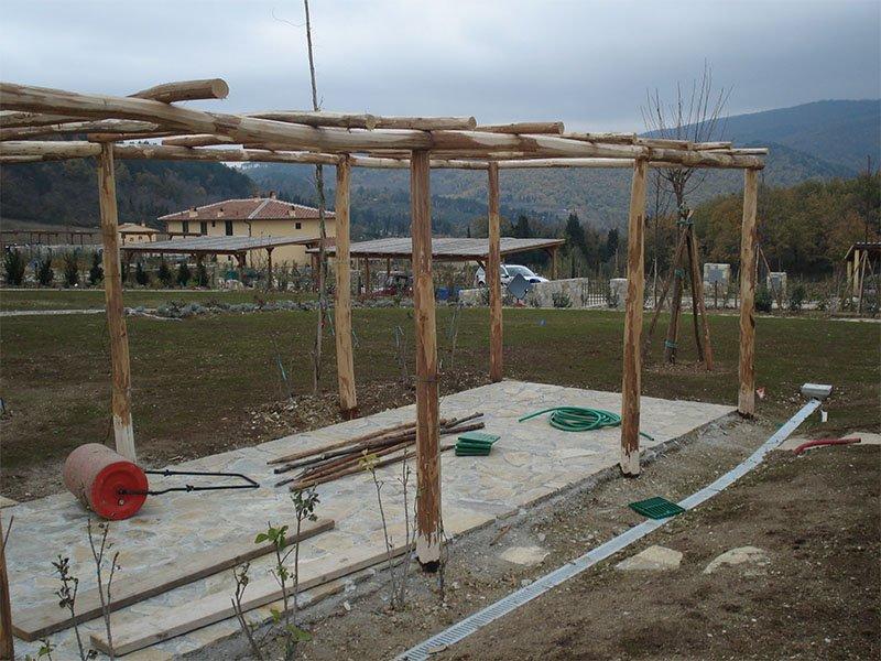 Wooden gazebo in construction