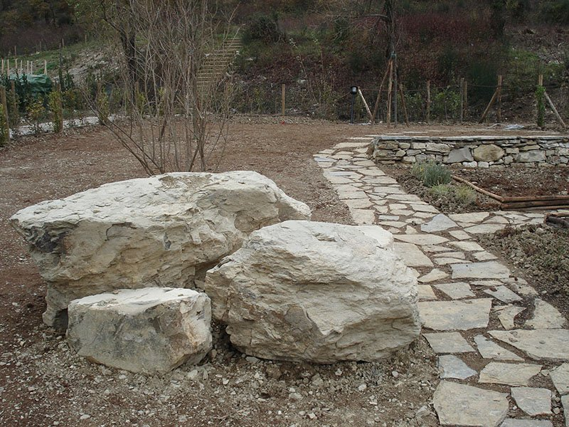 Stone pathway and boulders