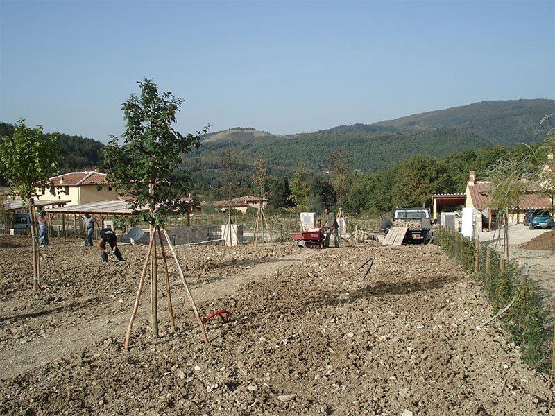 people building a garden