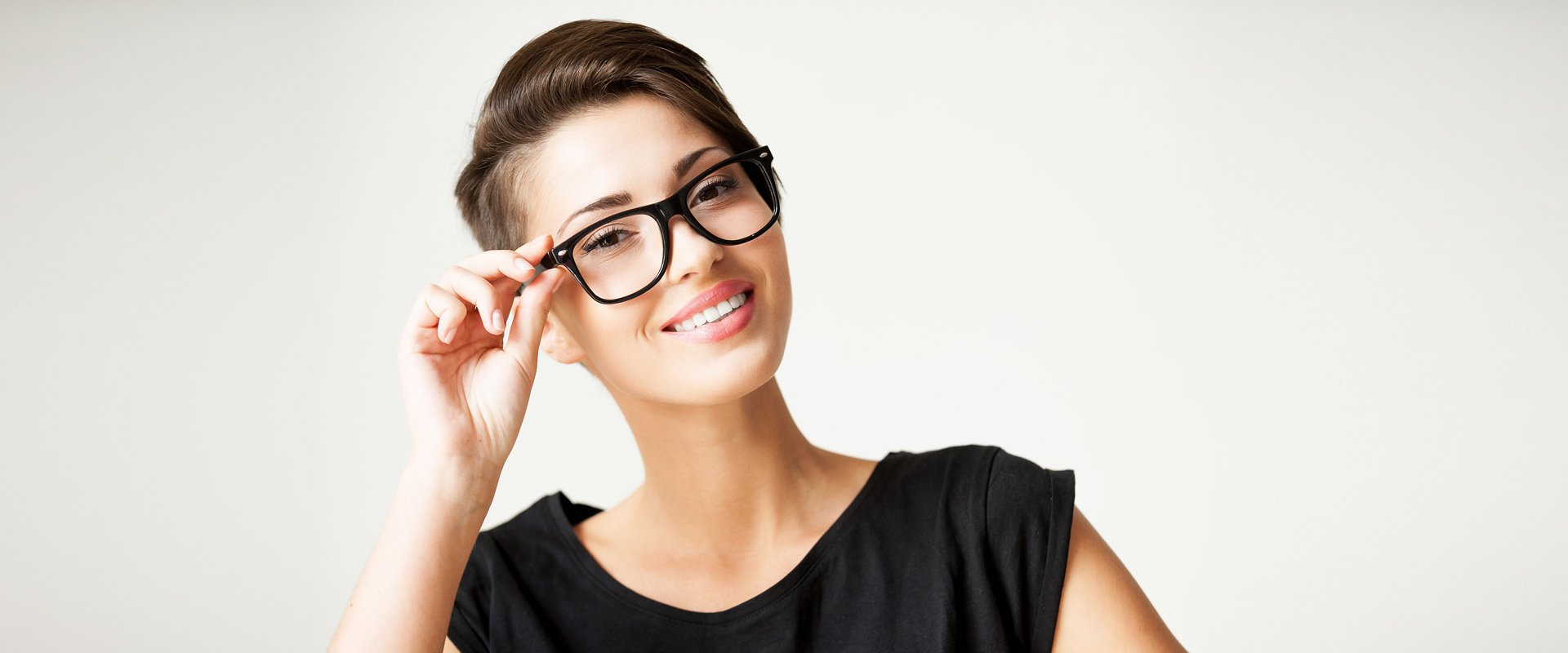 A woman wearing glasses