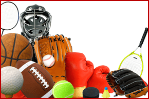 Football, rugby ball, tennis ball, boxing gloves, tennis racquet
