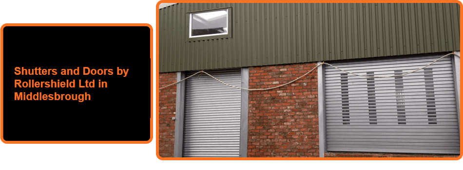 Two steel roller shutter doors on a warehouse frontage
