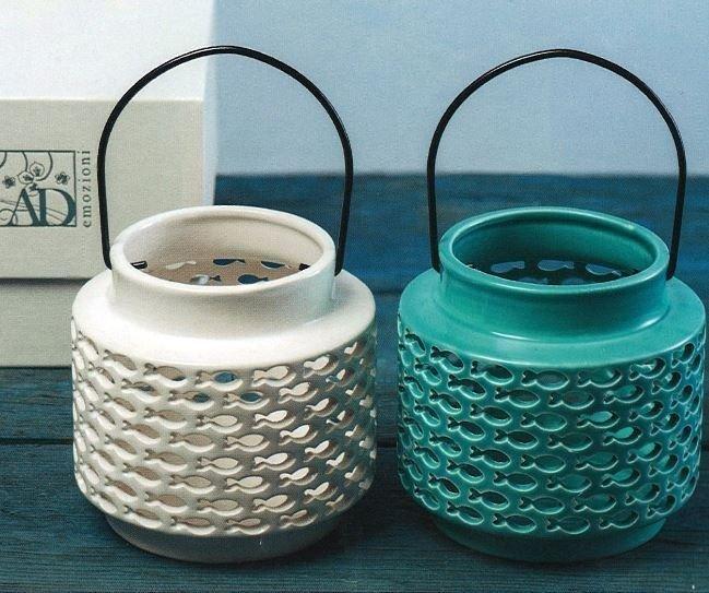 Linea Fishes lanterna pesci in ceramica