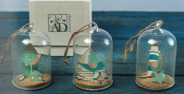 Linea Fishes campana in vetro con tre soggetti