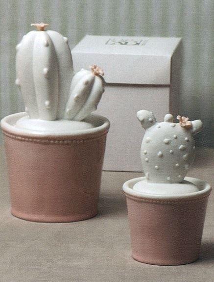 Cactus in ceramica con vasetto rosa