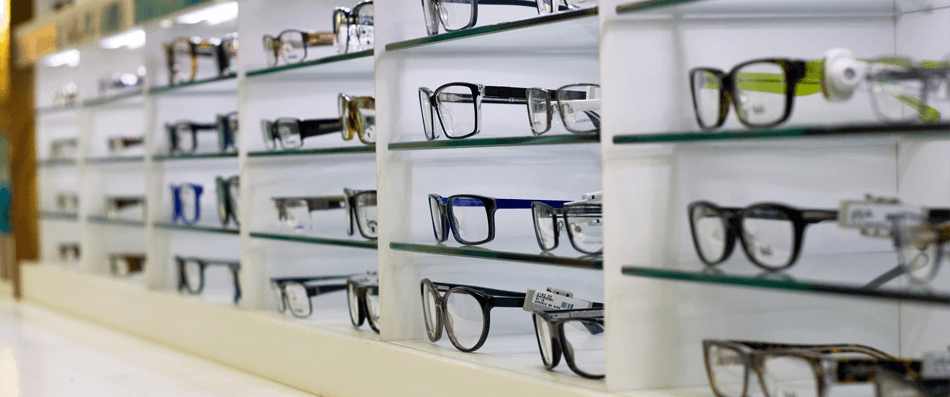 rows of glasses in our shop