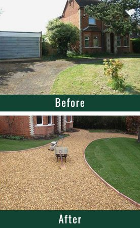 Before and after driveway improvements