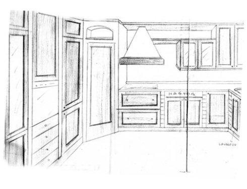 cucina su misura adattata a pareti irregolari