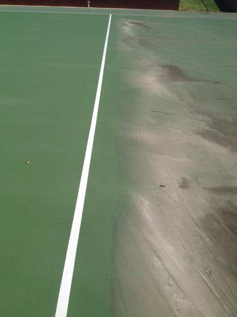 tennis court half cleaned