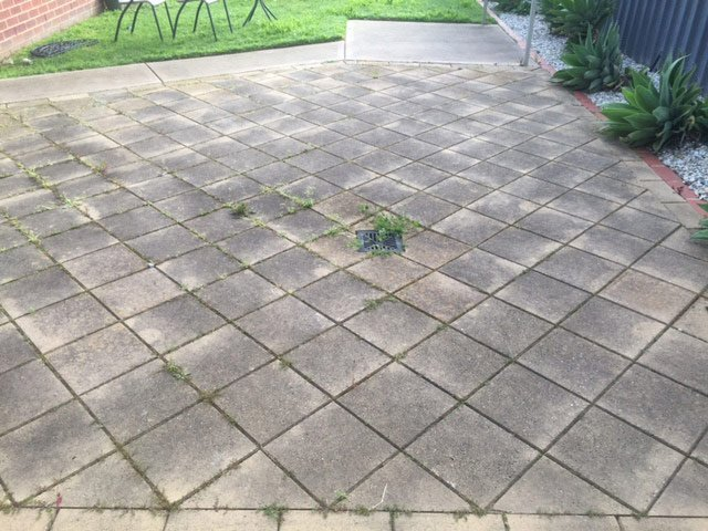 dirty patio area