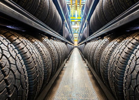 Tyres in warehouse