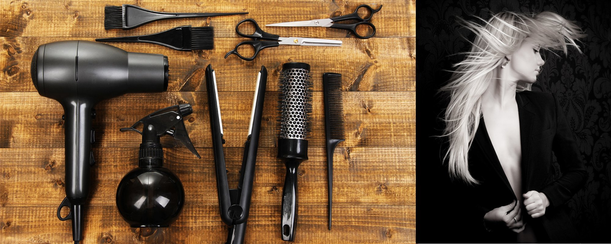Hairdressing tools on wooden table