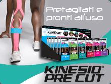 gambe di una donna con dei tutori elastici colorati e la scritta Kinesio Pre Cut Pretagliati e pronti all'uso