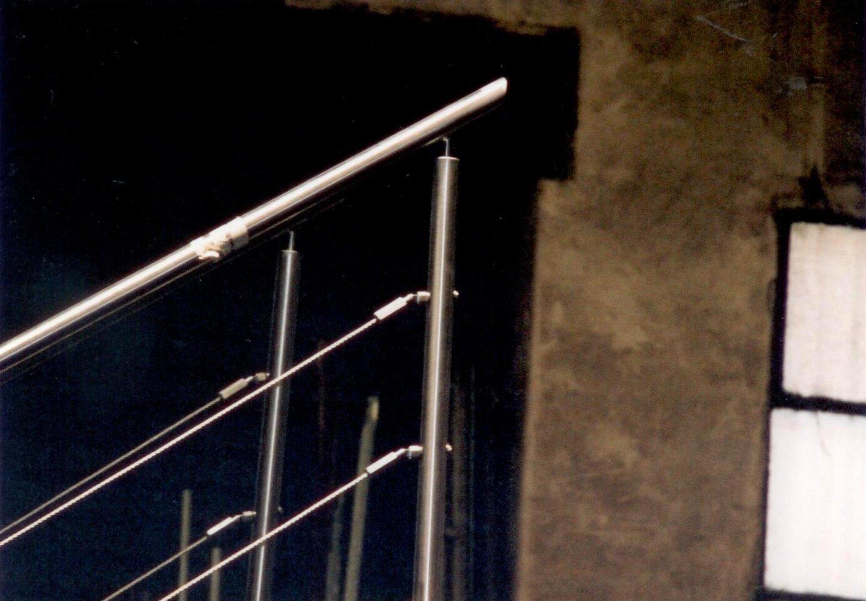 parapetto in acciaio per scala