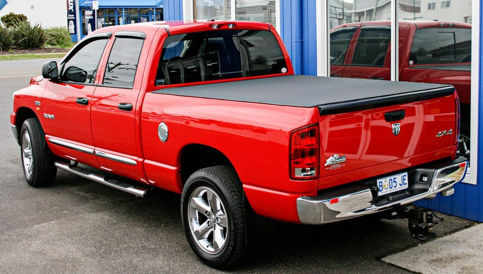 red pick up car
