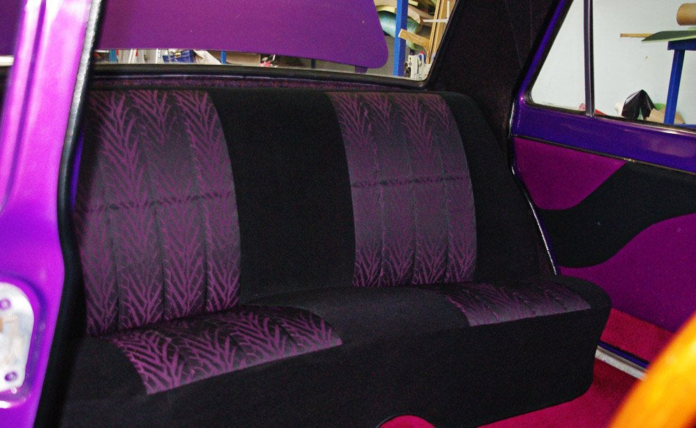 black and purple seats