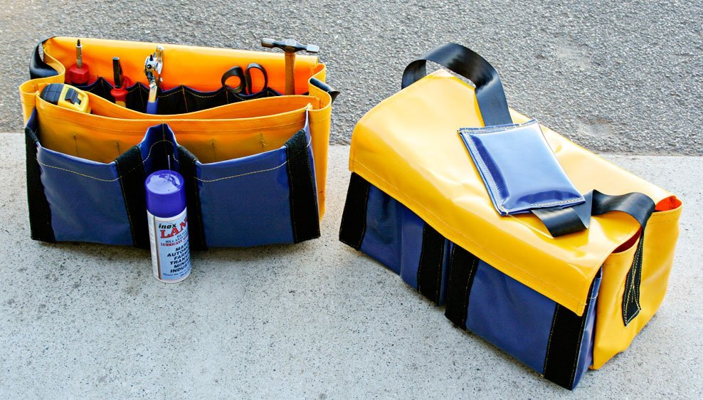 yellow and blue tool bags