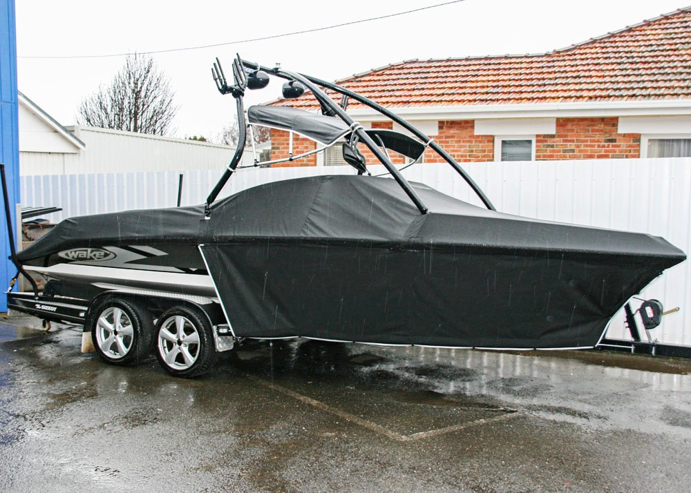 boat with  black cover