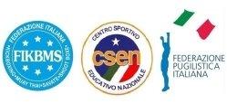 logo Federazione Italiana Kickboxing - logo CSEN - logo Federazione Pugilistica Italiana