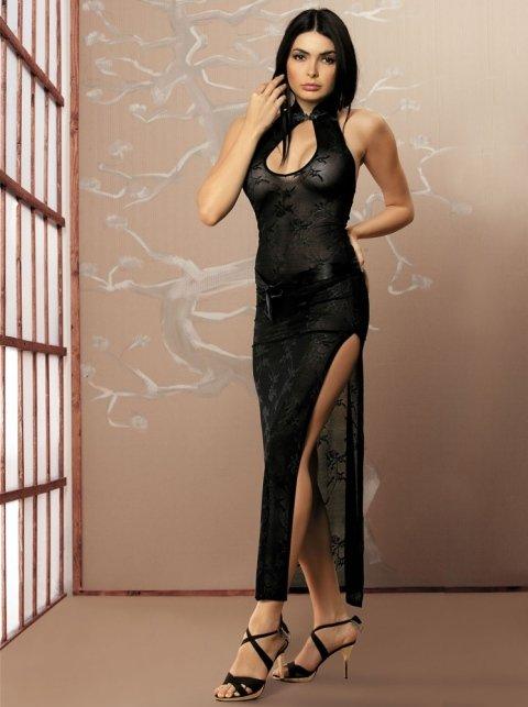 abito lungo sexy nero