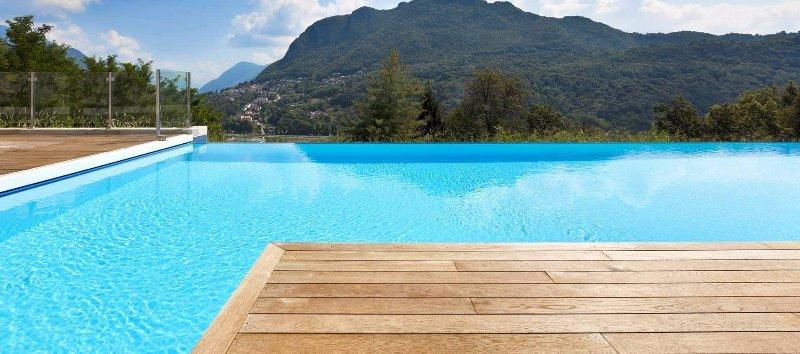 Luxury pool overlooking mountains