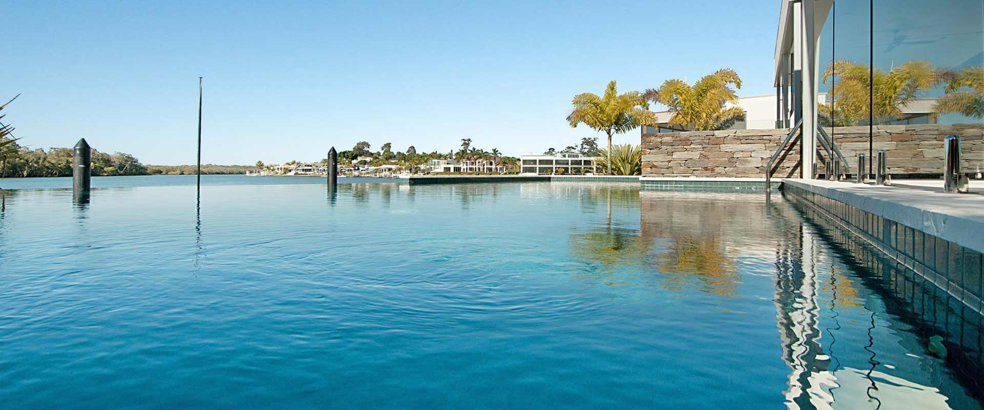 Infinity pool overlooking the marina