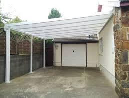 View of installed Carports in front of the garage