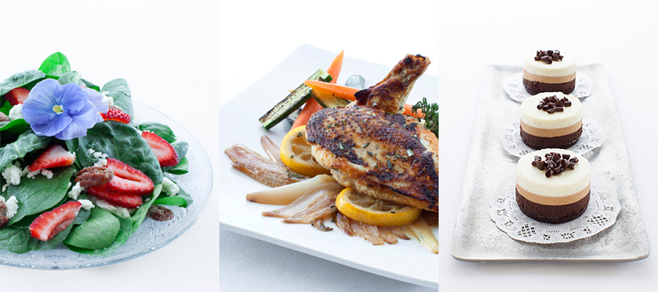salad, chicken & cake - Executive Cuisine